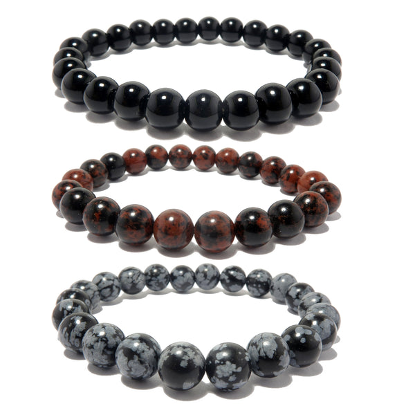 Obsidian Medley Bracelet Set 7mm Black, Red Mahogany, Snowflake Stones Round Stretch Trio B01