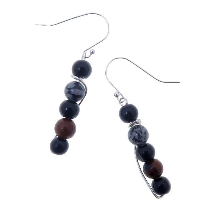 black, mahogany, snowflake obsidian beaded sterling silver dangle earrings
