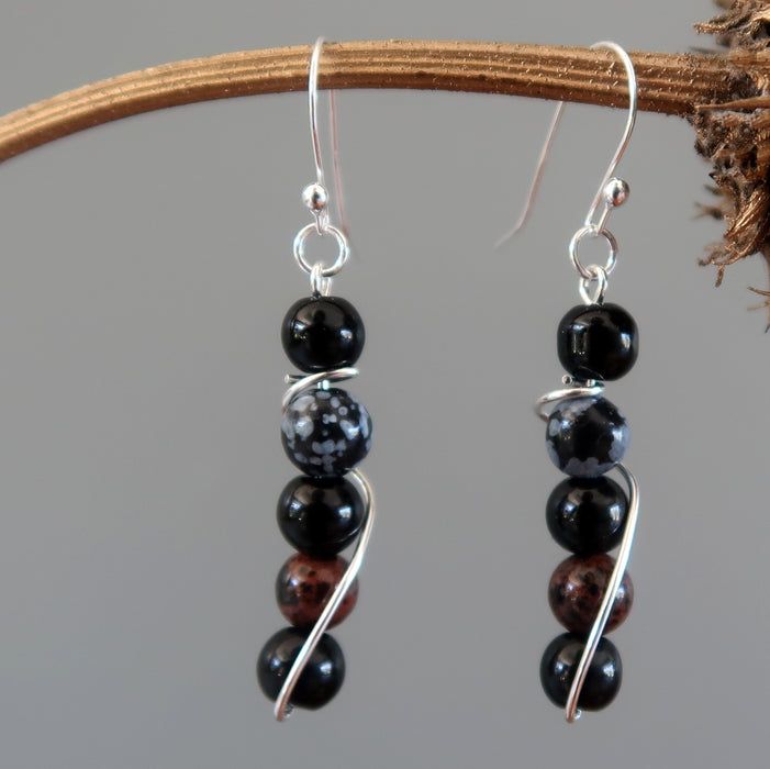 Obsidian Medley Earrings Black Snowflake Mahogany Sterling Security