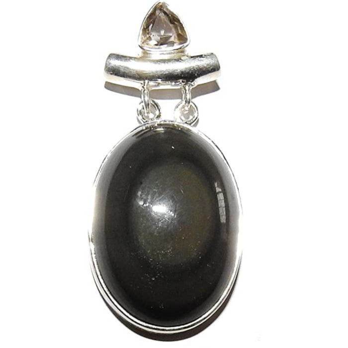 Rainbow Obsidian Pendant Protection Crystal Sterling Silver Irresistable 2.1""