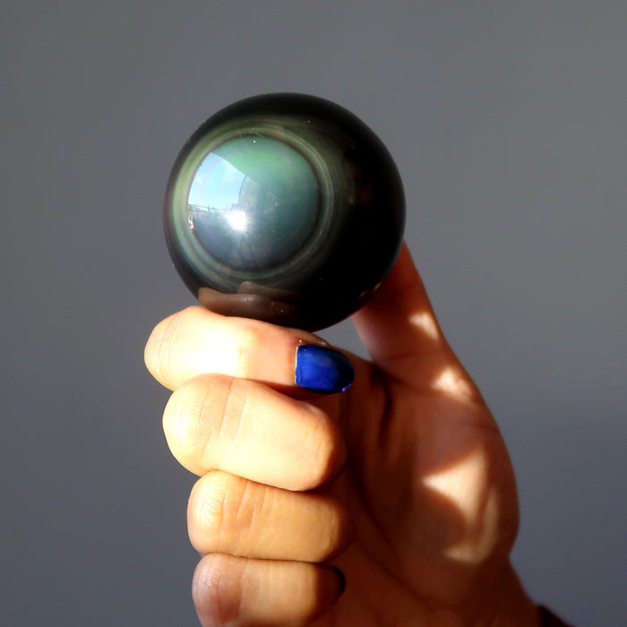 Rainbow Obsidian Sphere Double Eye Guardian Protection Crystal Ball