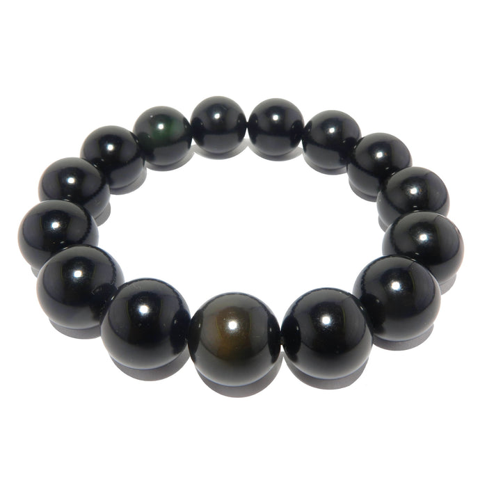rainbow obsidian beaded stretch bracelet