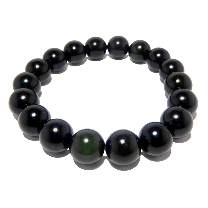 Black beaded obsidian bracelet showing a hint of green rainbow