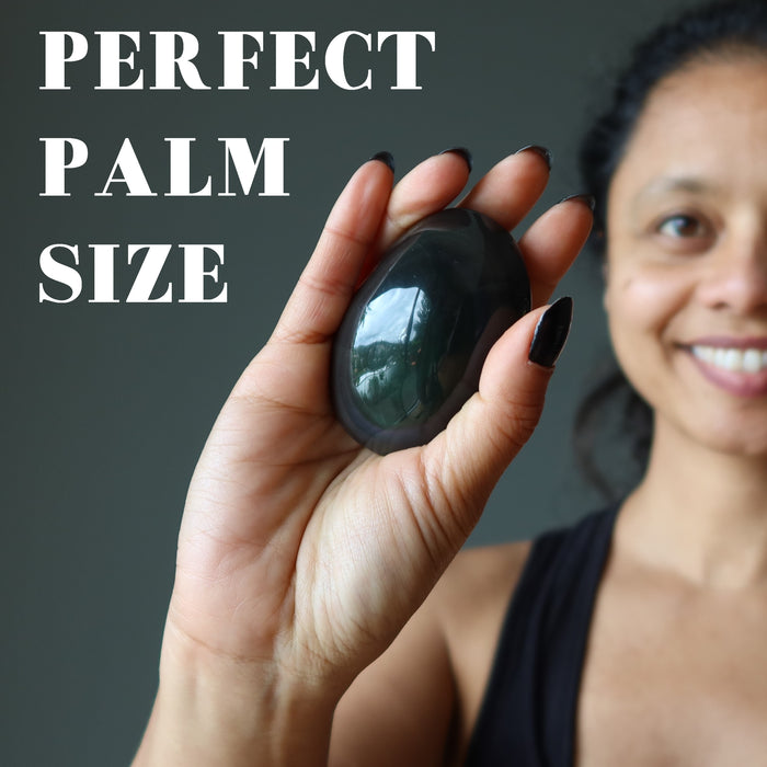 Obsidian Rainbow Polished Palm Stone Oval Upper Chakras Protection