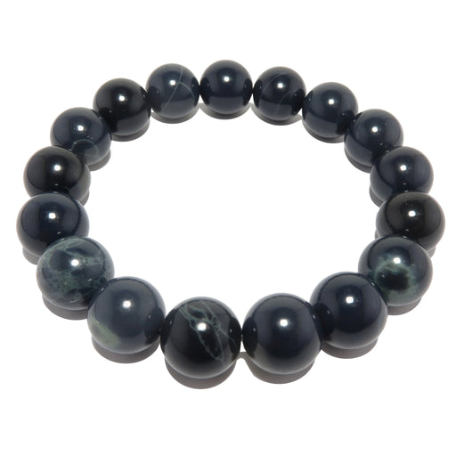12mm round spiderweb obsidian stretch bracelet