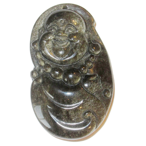 Laughing Buddha carved into Gold Sheen Obsidian volcanic gemstone. The stone is black with glittery gold sparks. It has a hole on the top and is 2 inches long.