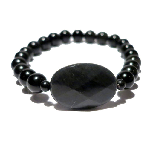 faceted rainbow obsidian oval and round beaded bracelet