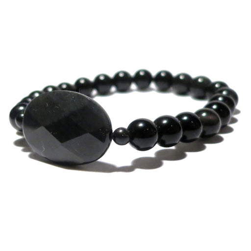 Obsidian Bracelet Faceted Oval Black Rainbow Gemstone Stretch Protection Stone 26