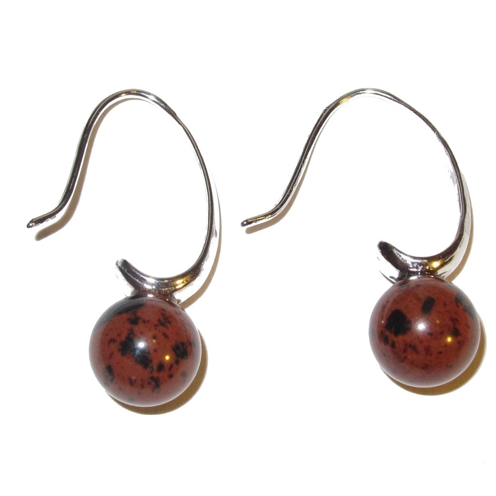 "Obsidian Earrings 1.2"" Mahogany Red Black Stone Silver French Wire Elegant Gemstones 02"