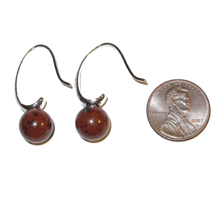 Mahogany Obsidian Earrings Red Black Stone Elegant French Wire