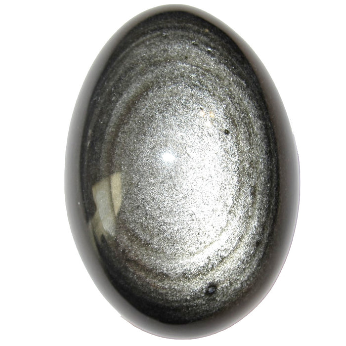 a very shiny silver sheen obsidian egg reveals mica sparkles in black volcanic glass stone