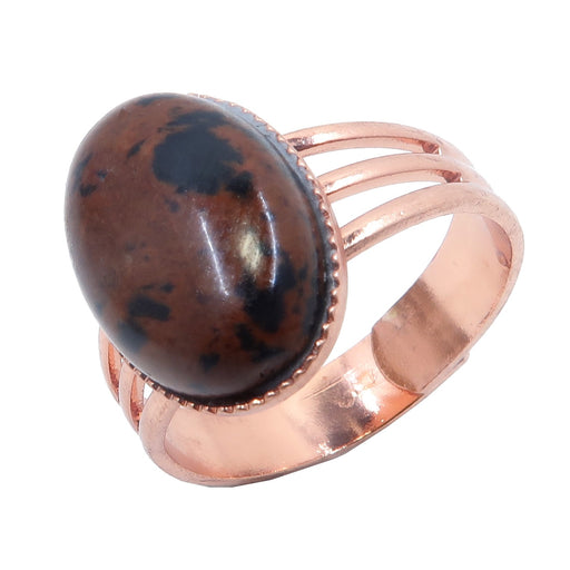Obsidian Mahogany Ring 4-10 Boutique Adjustable Black Red Volcanic Stone Oval B01 (Copper)