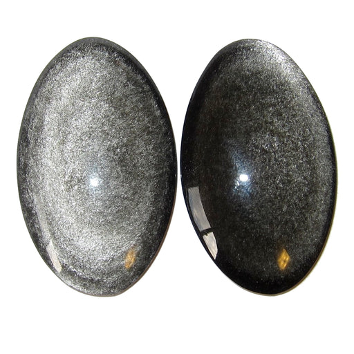 "Obsidian Silver Cabochon Polished Stone 1.8"" Premium Pair of Stunning Sheen Watchful Eyes Protective Meditation Ovals P02"