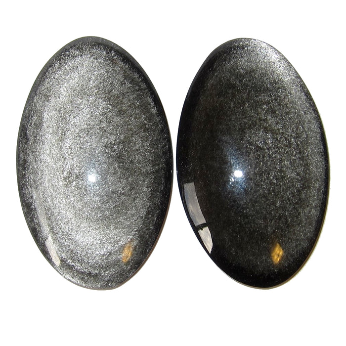 Obsidian Silver Sheen Cabochon Pair Watchful Eyes Polished Stone Ovals