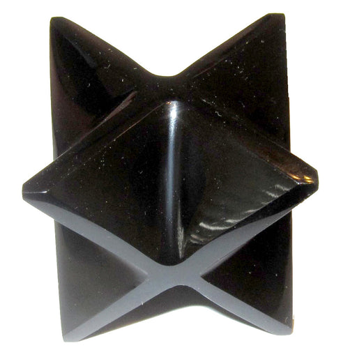 "Obsidian Polygon Black 1.5"" (2.8"") Merkaba Star Shamanic Journey Healing Crystal Stone C50"