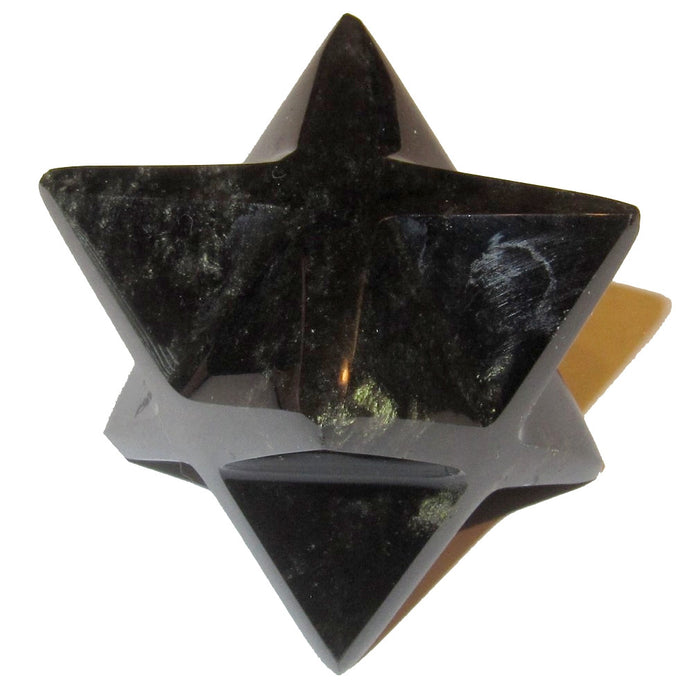 "Obsidian Polygon Gold 1.5"" (2.7"") Collectible Merkaba Star Black Space Dust Crystal Energy Star C50"