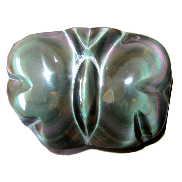"Obsidian Rainbow Animal Butterfly 3"" Collectible Green Pink Stone of Hope Happiness C50"