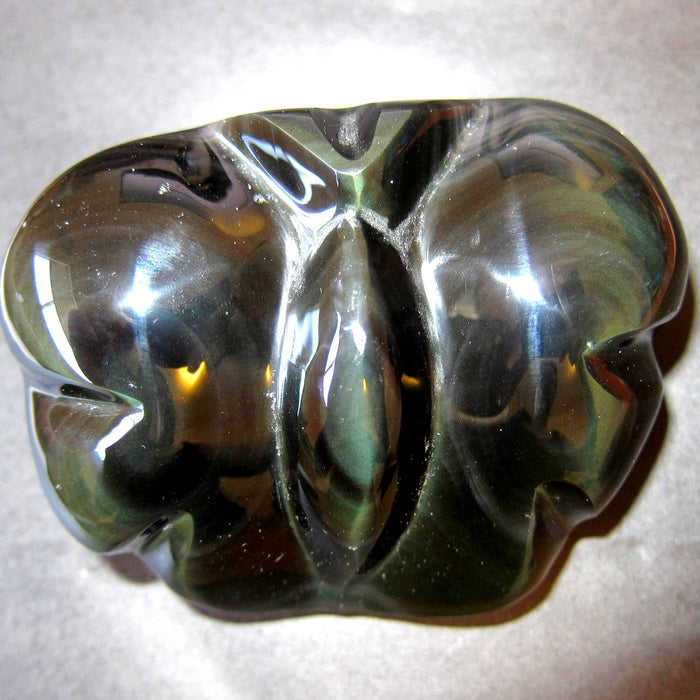 "Obsidian Rainbow Animal Butterfly 3.3"" Collectible Green Planet Carved Crystal Healing Stone One of a Kind C52"