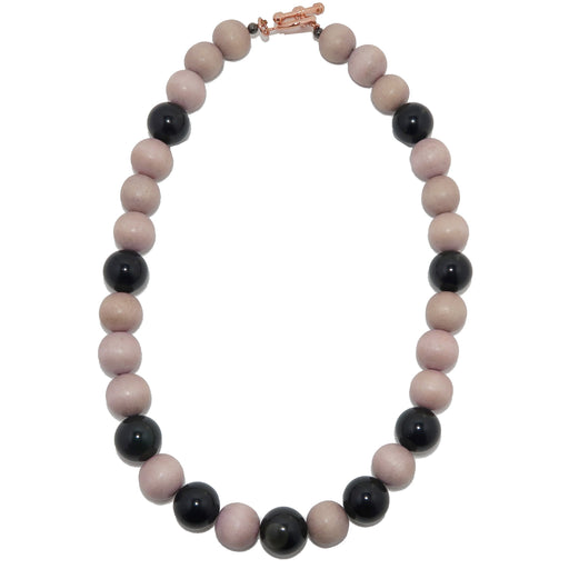 rainbow obsidian and tan wood beads on necklace with copper toggle clasp