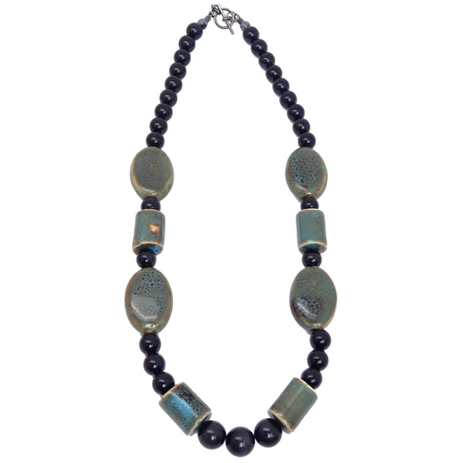 "Obsidian Rainbow Necklace 21"" Specialty One-of-kind Black Sheen Gemstone Ceramic Handmade S02"