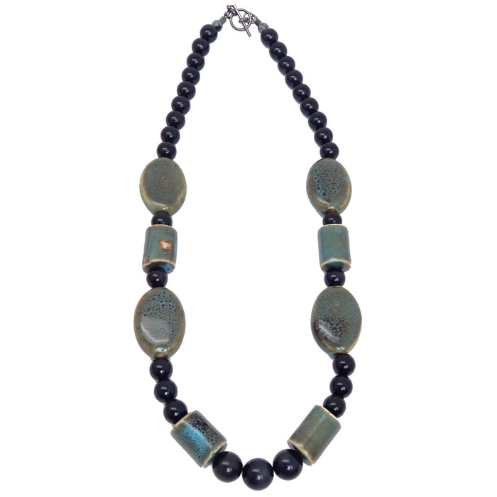 Obsidian Rainbow Necklace One-of-kind Black Sheen Gemstone Ceramic