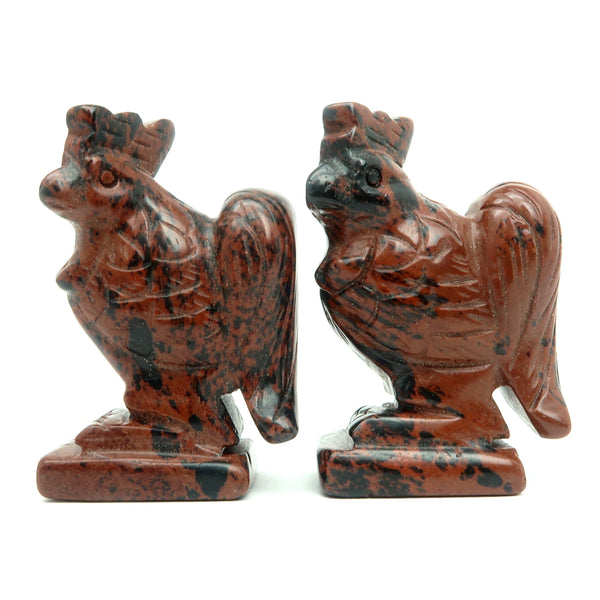 "Obsidian Animal Bird Set 2.5"" Premium Black Red Mahogany Stone Figurine Carving Pair Rooster P02"