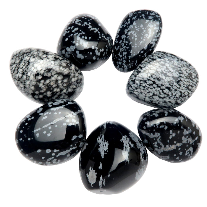 Snowflake Obsidian Tumbled Stone Set of 7 Jumbo Crystals for Layout