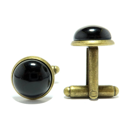 Onyx Cufflinks Antique Bronze 12mm Natural Black Gemstone Pair