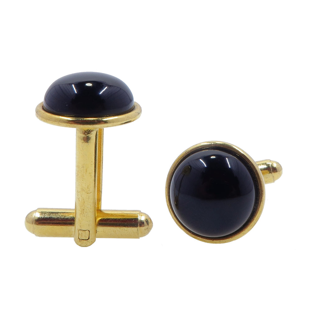 Onyx Cufflinks Gold 12mm Natural Black Gemstone