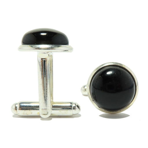 Onyx Black Cufflinks Silver 12mm Natural Round Gemstone Pair