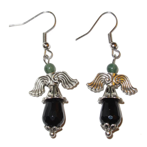 faceted black onyx teardrop, green aventurine stone in angel beaded earrings