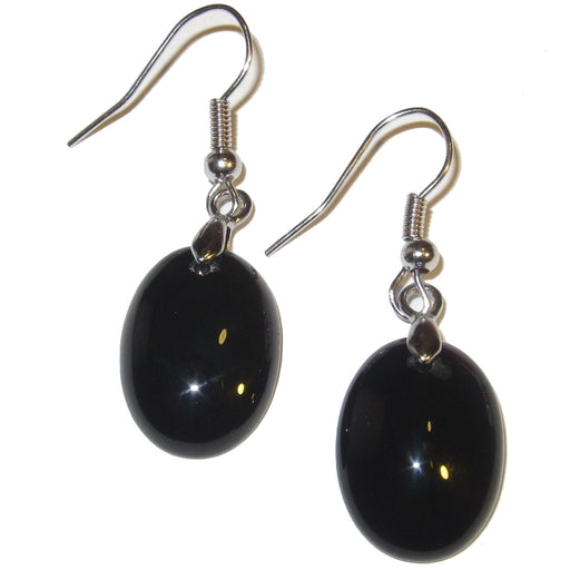 "Onyx Earrings 1.5"" Shiny Black Oval Crystal Dangle Stones Negative Energy Deflector 02"