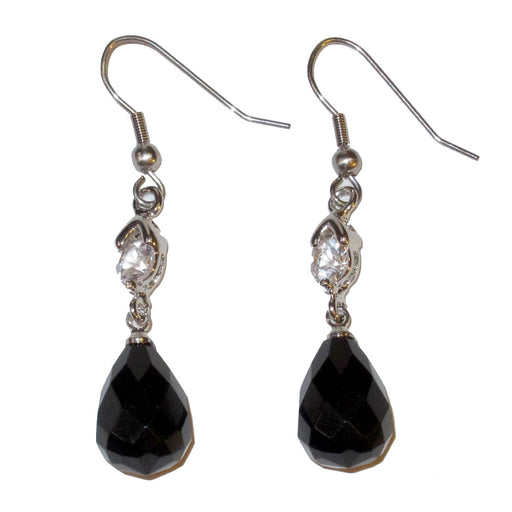black onyx faceted teardrop with crystals on ilvre arrings