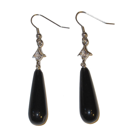 long black teardrop onyx stones on silver earrings