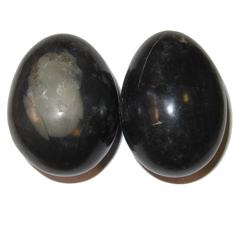 Onyx Egg Black 03 Pair of Protective Black Natural Crystals Gazing Window Meditation Stone 2.3""