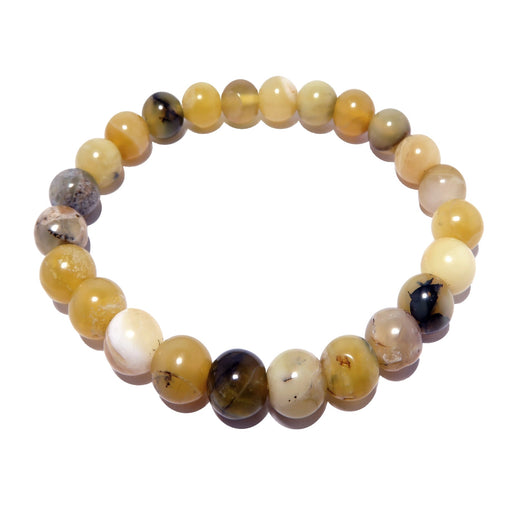 Opal Yellow Bracelet 7mm Natural Round Gemstone Dendritic Earthy Handmade Stretch B04