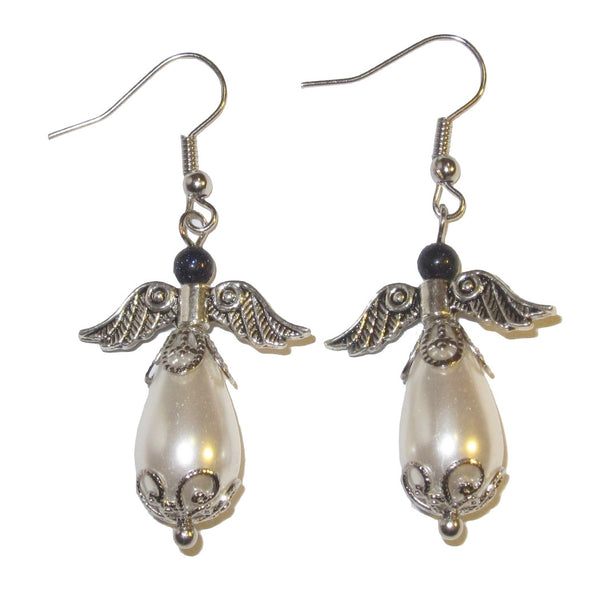 "Pearl Earrings 2"" White Angel Divine Heaven Stone Blue Goldstone Fancy Dangle Wings 01"