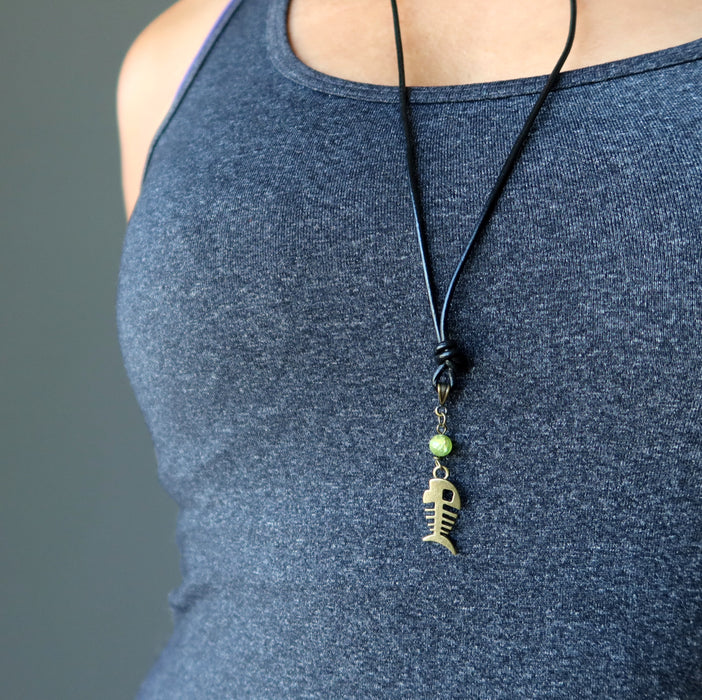 Peridot Necklace Tropical Green Gemstone Fishbone Charm Black Travel Leather