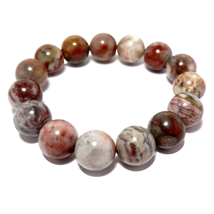 multi-colored pietersite stretch bracelet, beaded with genuine round gemstones. handmade in the satin crystals jewelry studio.