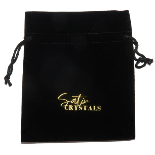 "black velveteen pouch with gold ""satin crystals"" print"