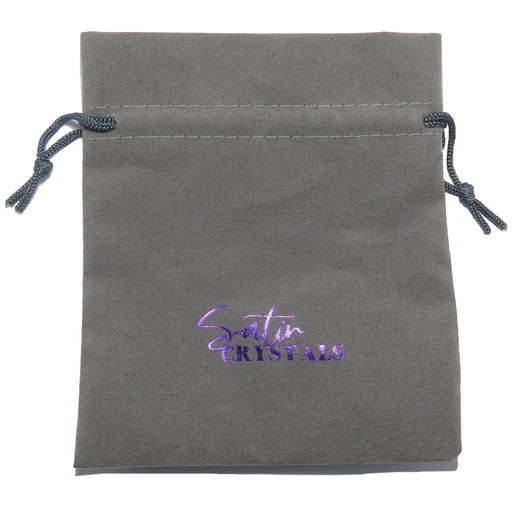 "gray velvetten pouch with purple ""satin crystals"" print"