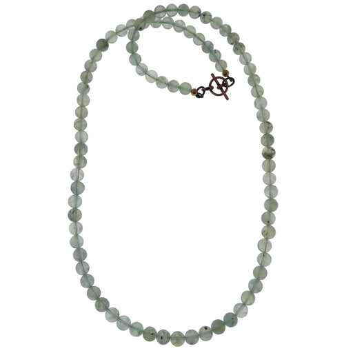 Prehnite Necklace Beaded Fresh Green Gemstone Round Crystal Healers Stone