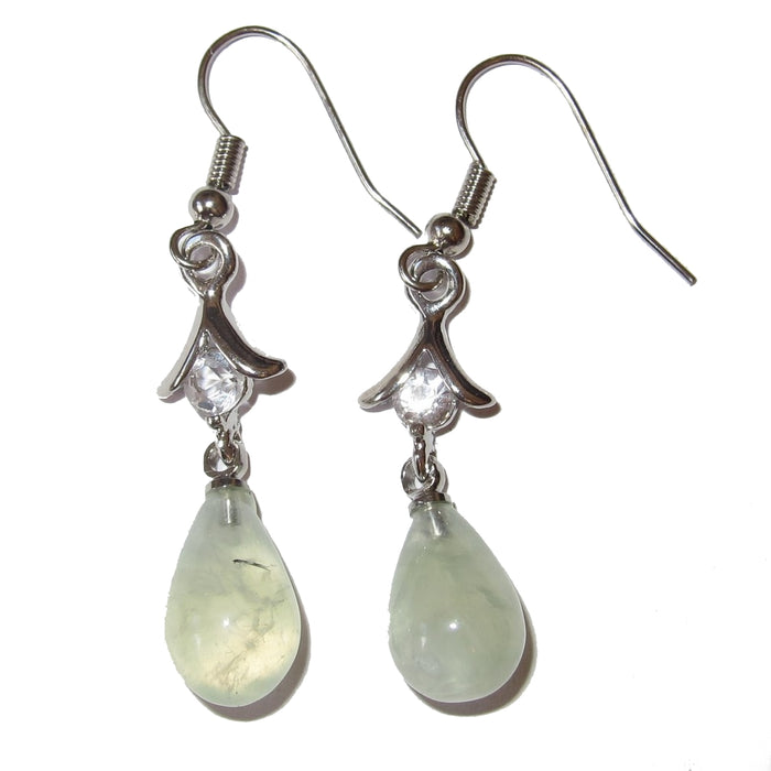 prehnite teardrop dangle earrings