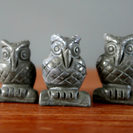 three pyrite carved owl figurines
