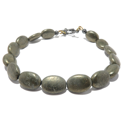 pyrite oval beaded ankle bracelet with gunmetal clasp