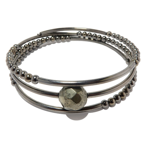 faceted pyrite on 3 coils of gunmetal beaded memory wire bracelet