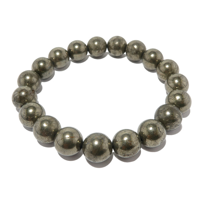 genuine iron pyrite smooth round beaded stretch bracelet. metallic gold polished gemstone beads handmade at satin crystals jewelry studio