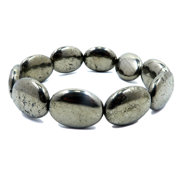genuine iron pyrite chunky oval stretch bracelet. metallic gold polished gemstone beads handmade at satin crystals jewelry studio