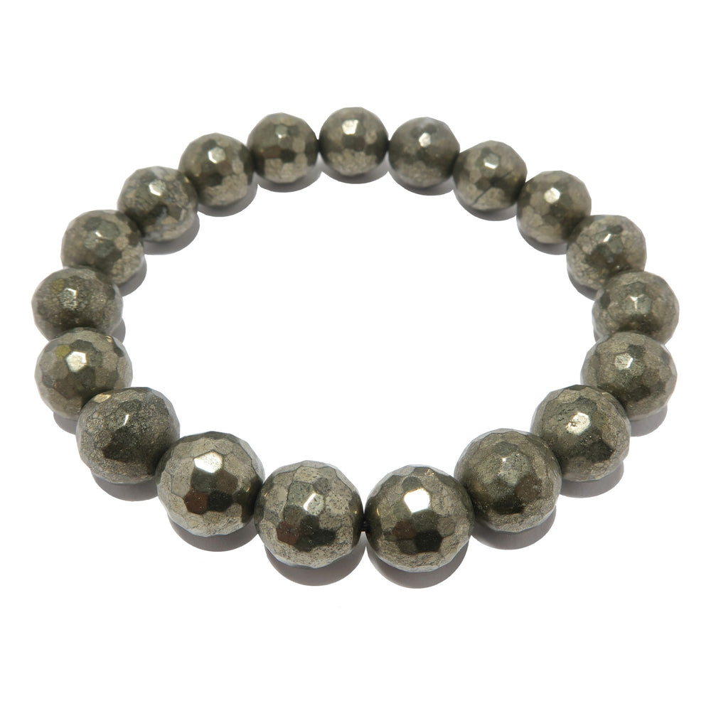 Pyrite Bracelet 9mm Faceted Sparkling Gold Gemstone Round Stretch Protection Jewelry B04