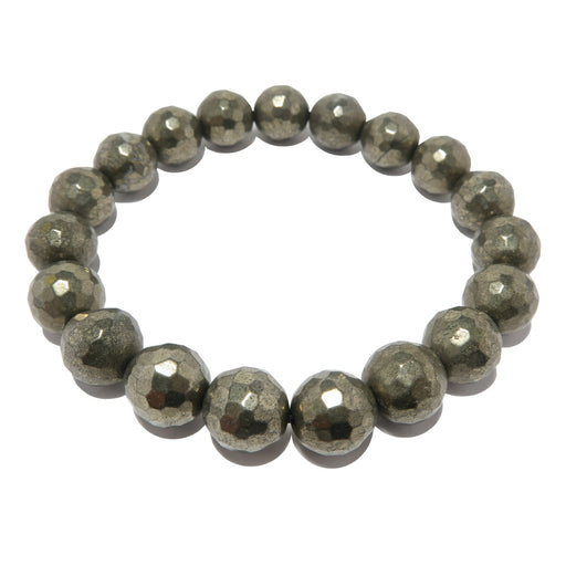 Pyrite Bracelet 9mm Faceted Sparkling Gold Gemstone Round Stretch Protection
